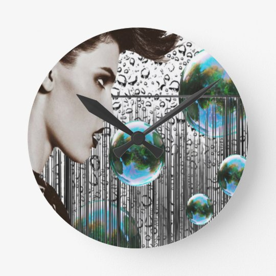 Contemporary Bubble Girl monochrome clock