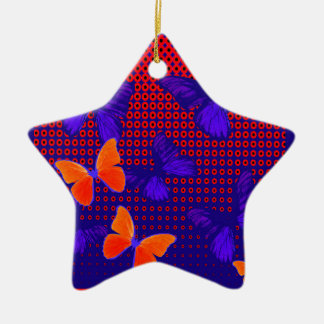Contemporary Butterfly Pattern Gifts by Sharles Ceramic Star Ornament