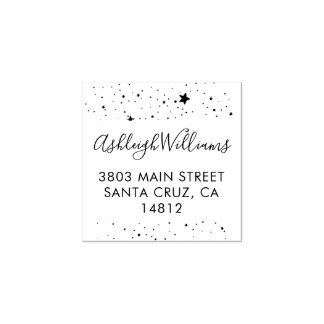 Contemporary Calligraphy Starry Night Sky Wedding Rubber Stamp