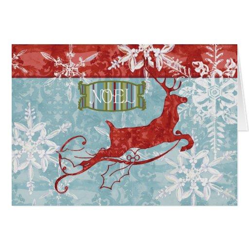 Contemporary Christmas Reindeer Noel Christmas Cards  Zazzle