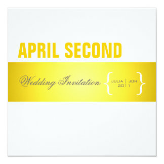 Contemporary + classy/ yellow + white 13 cm x 13 cm square invitation card