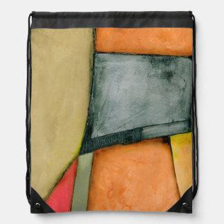 Contemporary Colorful Geometric Shapes Drawstring Bag