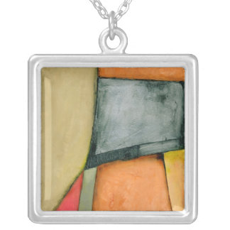 Contemporary Colorful Geometric Shapes Silver Plated Necklace