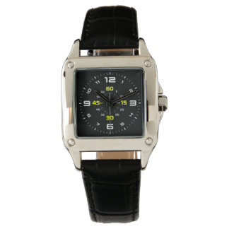 contemporary custom square black leather watch