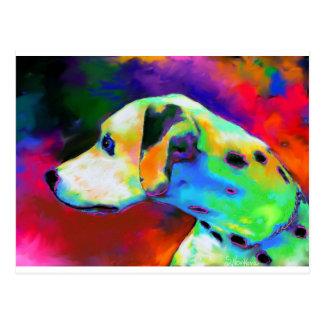 Contemporary Dalmatian Dog portrait Postcard