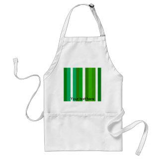 Contemporary dark and light green white stripes standard apron