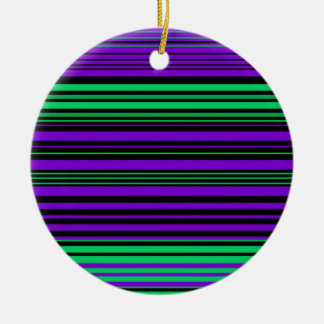 Contemporary dark purple green and black stripes round ceramic decoration