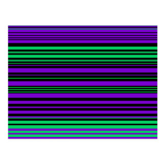 Contemporary dark purple green and black stripes postcard