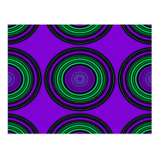 Contemporary dark purple green circles postcard