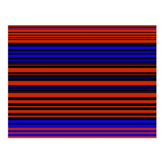 Contemporary dark red blue and black stripes post card