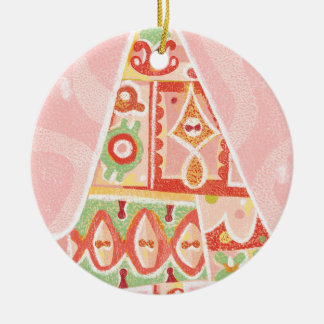 Contemporary Decorative Christmas Tree Round Ceramic Decoration