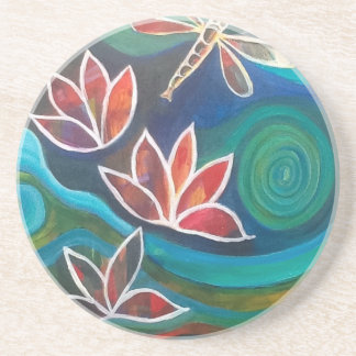 Contemporary dragonfly and lily vibrant design beverage coasters