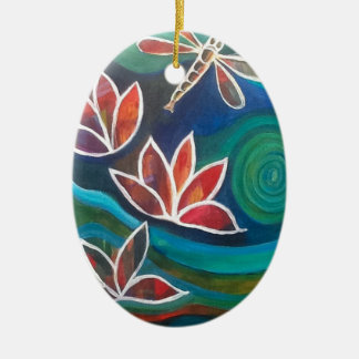 Contemporary dragonfly and lily vibrant design ceramic oval decoration