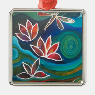 Contemporary dragonfly and lily vibrant design christmas ornament