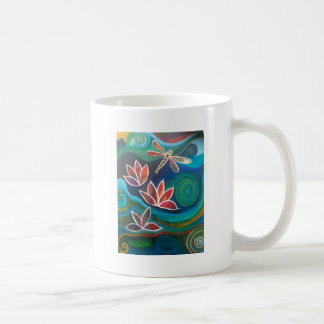 Contemporary dragonfly and lily vibrant design coffee mug