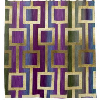 Contemporary Elegant Gold Blue Green Purple Shower Curtain