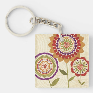 Contemporary Fall Flowers Double-Sided Square Acrylic Key Ring