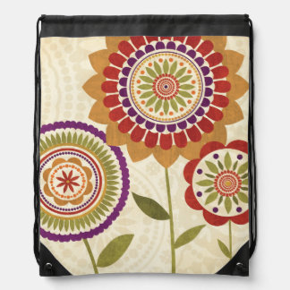 Contemporary Fall Flowers Drawstring Bag