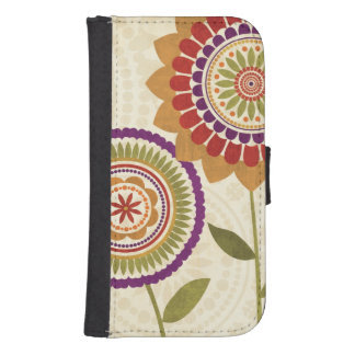 Contemporary Fall Flowers Samsung S4 Wallet Case