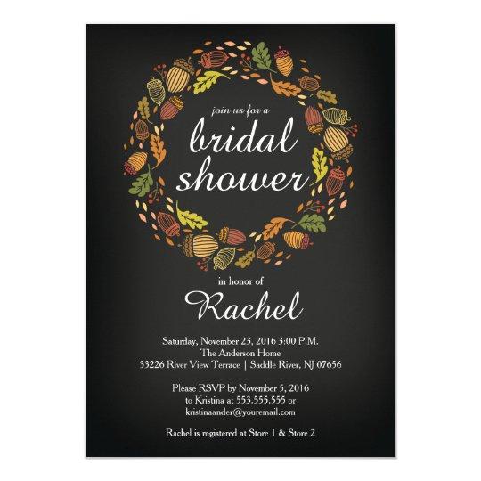 Contemporary Fall Wreath Bridal Shower Card