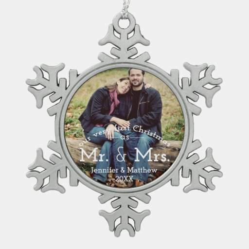 Contemporary First Christmas Mr. & Mrs. Photo Ornament