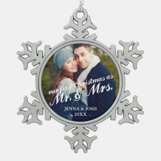 Contemporary First Christmas Mr. & Mrs. Photo Pewter Snowflake Decoration