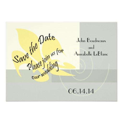 Contemporary Fleur de Lis Save the Date Cards Custom Announcement
