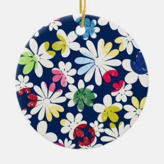 Contemporary Floral Pattern Round Ceramic Decoration