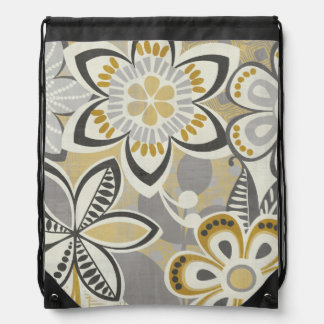 Contemporary Floral Patterns Drawstring Bag