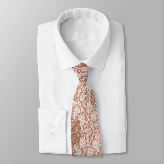 Contemporary Floral Pink Rose Gold Powder Lace Tie