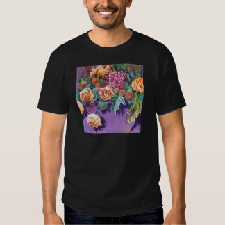 contemporary floral yellow and purple t shirt