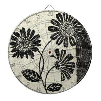 Contemporary Florals in Black and White Dartboard