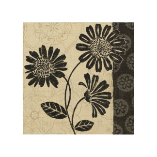 Contemporary Florals in Black and White Wood Wall Art