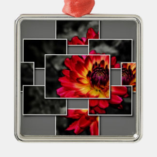 Contemporary Flower Silver-Colored Square Decoration