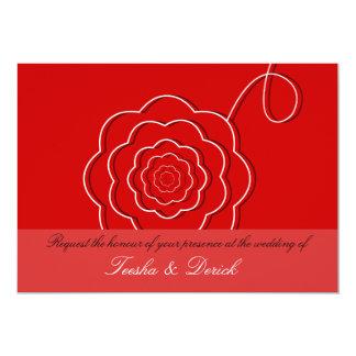 Contemporary flower wedding invitation card