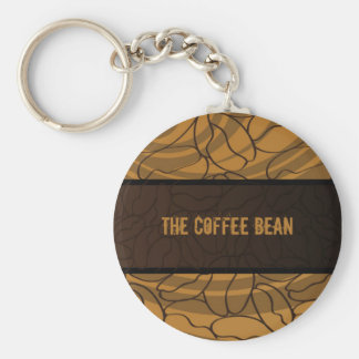 Contemporary, Fun & Colorful Coffee Bean Keychain. Basic Round Button Key Ring