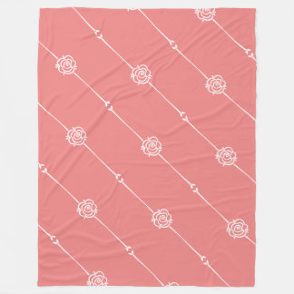 Contemporary Fusion Coral Rose Stripe Fleece Blanket