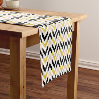 Contemporary Geometric Chevron Pattern Short Table Runner