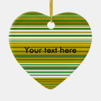 Contemporary gold and green stripes ceramic heart decoration
