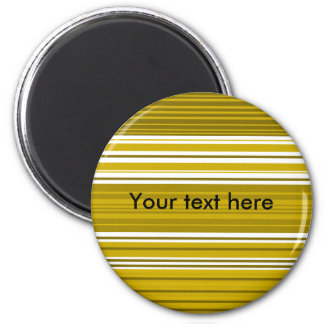 Contemporary gold and white stripes 6 cm round magnet