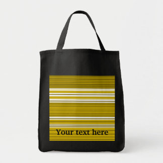Contemporary gold and white stripes grocery tote bag