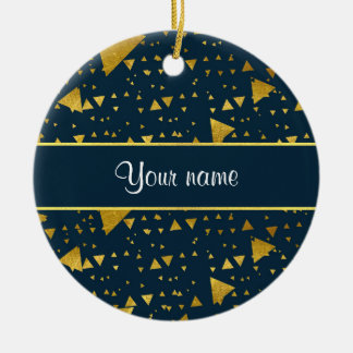 Contemporary Gold Triangles on Navy Blue Round Ceramic Decoration