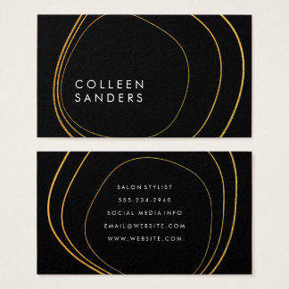 Contemporary Golden Circular Pattern Business Card