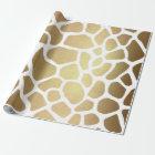 Contemporary Golden White Safari Giraffa Skin Vip Wrapping Paper