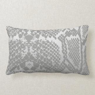 Contemporary Gray Pastel Snake Python Skin Lumbar Pillow