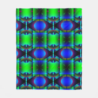 Contemporary Green Blue Pattern Fleece Blanket