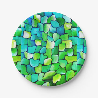 Contemporary Green Pattern Paper Plate