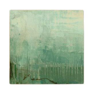 Contemporary Green Watercolor Wood Coaster