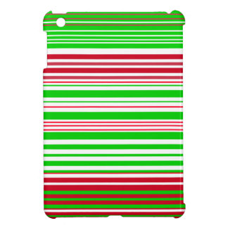 Contemporary green white and red stripes case for the iPad mini