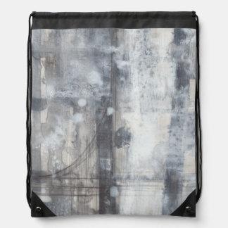 Contemporary Grey Painting Drawstring Bag